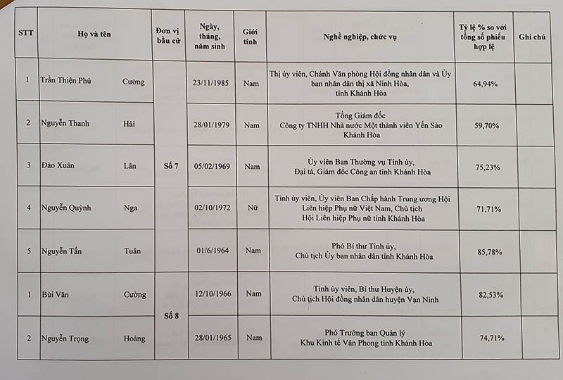 Danh sách trúng cử đại biểu HĐND tỉnh Khánh Hòa - ảnh 7
