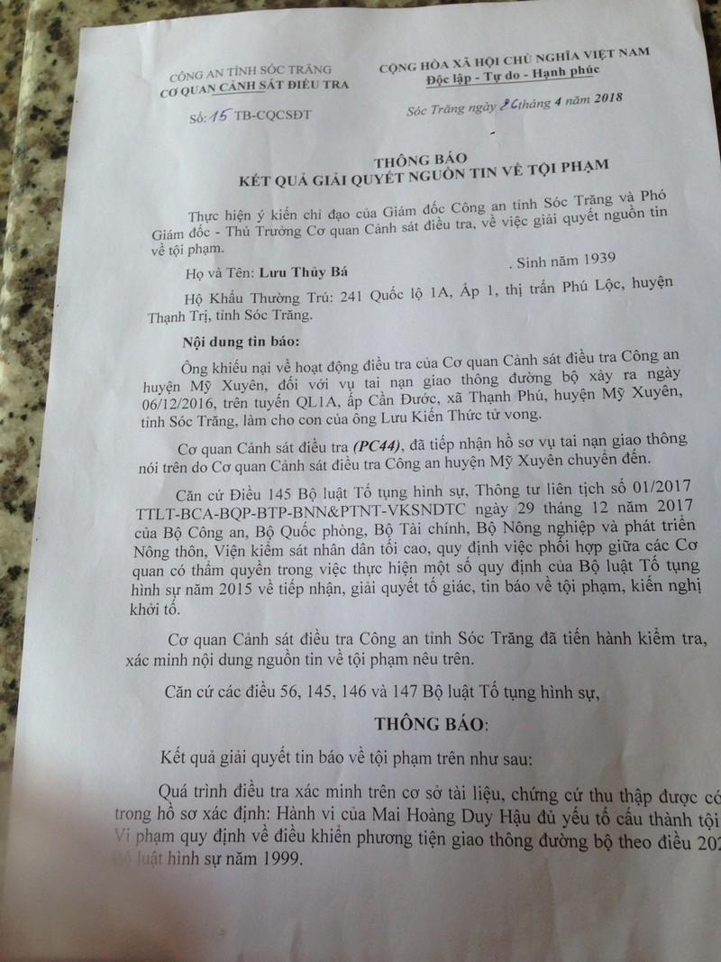 Phải khởi tố vụ người đi bộ bị tông chết ở Sóc Trăng  - ảnh 2